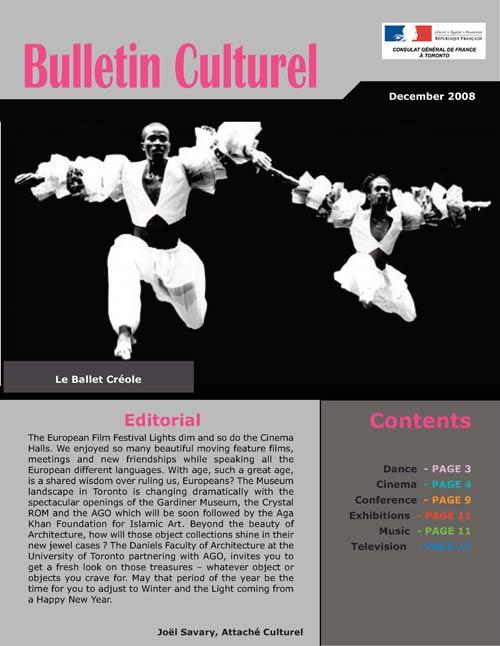 Cultural newsletter of December 2008 - Consulat général de France à